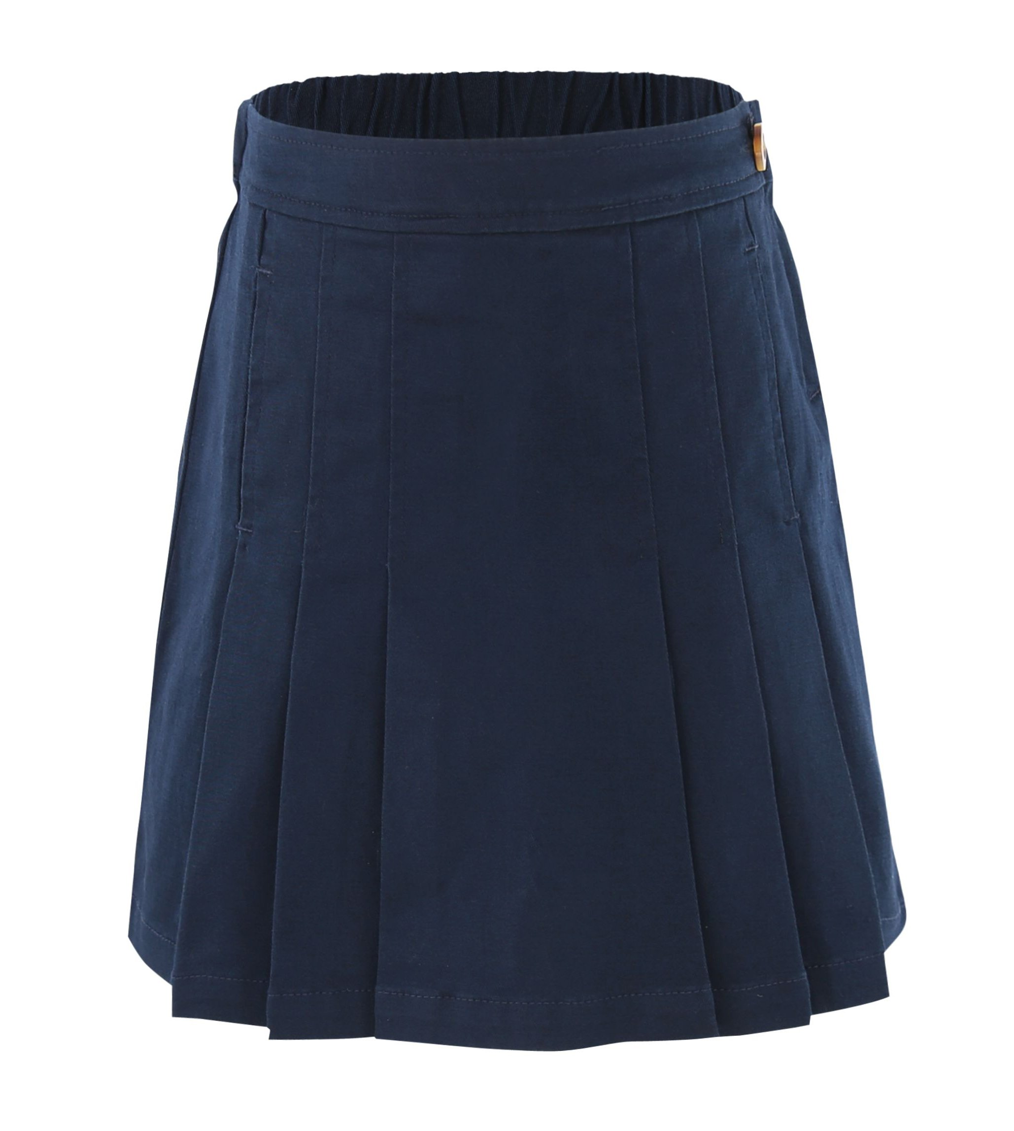 Bienzoe Girl's Cotton Stretchy Twill School Uniforms Pocket Pleated Skirt Navy Size 12