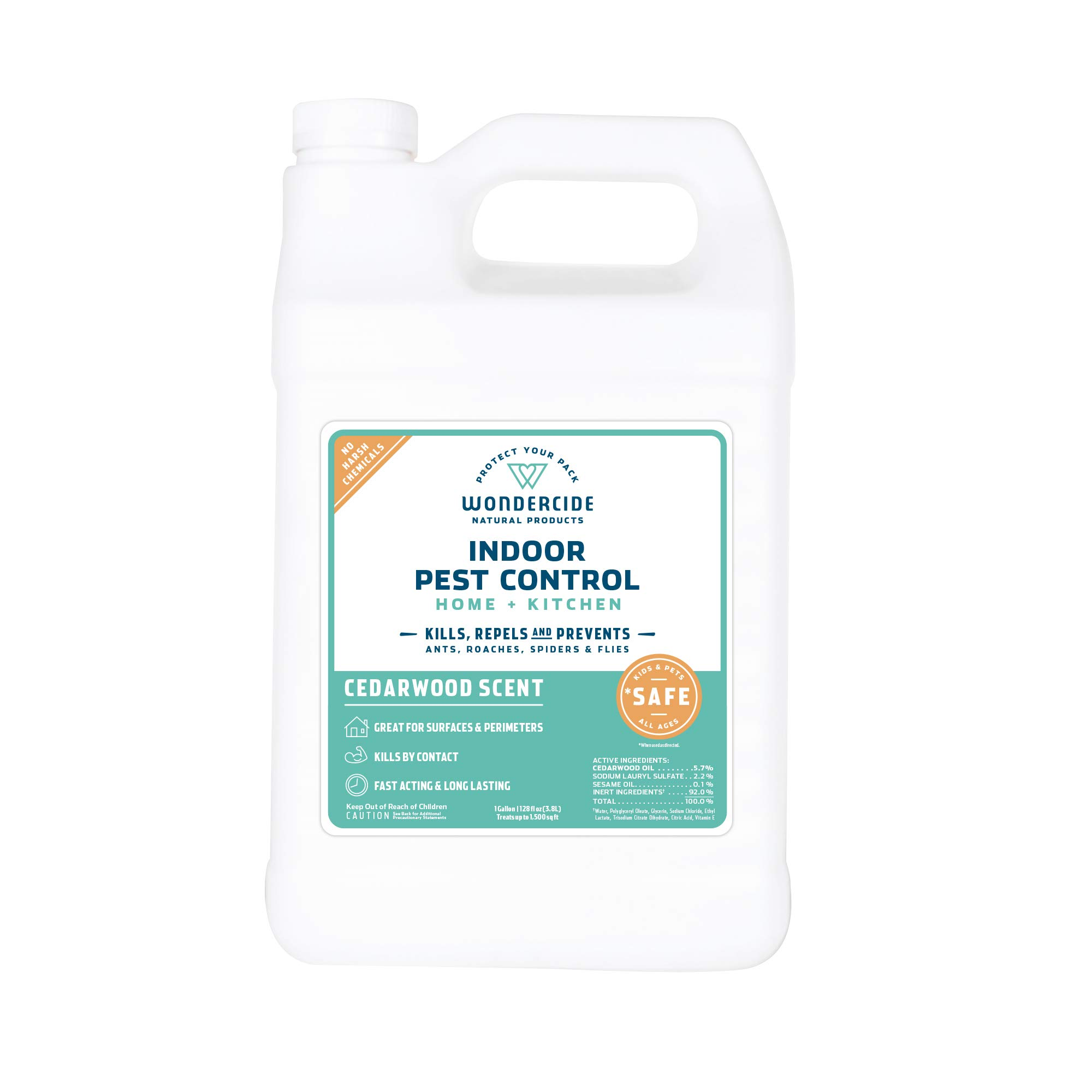 Wondercide Natural Indoor Pest Control Spray for Home and Kitchen - Fly, Ant, Spider, Roach, and Bug Killer and Repellent - 128 oz Cedarwood by Wondercide