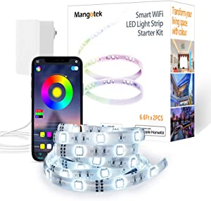 Mangotek Smart WiFi LED Light Strip Kit Work with Apple HomeKit Support Voice Control Compatible with Siri, Alexa and Google Assistant(No Hub Required) for Home Kitchen Bedroom Party Christmas