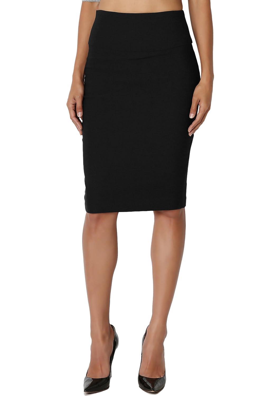 TheMogan Women's Slim Dressy High Waisted Pencil Knee Skirt