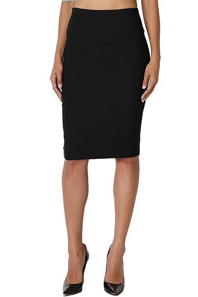 4ff81f012 TheMogan Junior's Slim! Basic High Waisted Stretch Pencil Midi Skirt Black S
