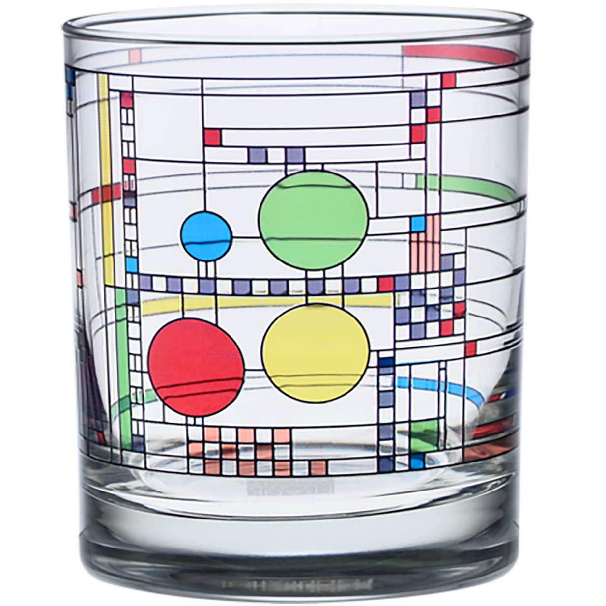 Frank Lloyd Wright April Showers DOF Double Old Fashioned Glass 14-Ounce Set of 2 Culver 359AS0065-2DS