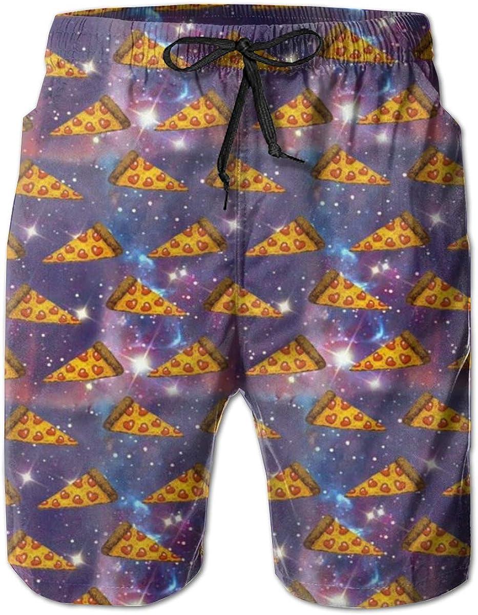 ZORITO Mens Swim Trunks Quick Dry Summer Holiday Beach Shorts with Mesh Lining Space Pizza Beachwear