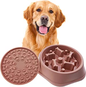 Slow Feeder Dog Bowls Food Stop Bloat Peanut Butter Lick Pad Anti Gulping Healthy Eating Non Slip Dog Slow Feeder Pet Bowl Slow Eating for Small Medium Size Dogs & Cats (Pink+Mat, Bone)