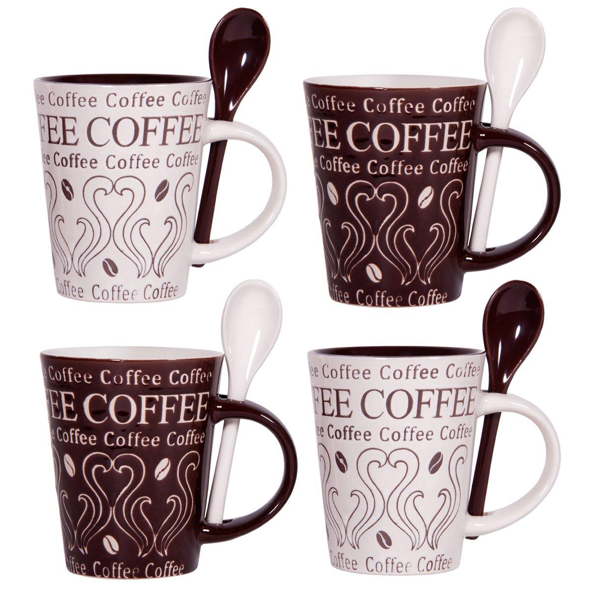 amazoncom coffee swirl  oz mug and spoon (set of ) kitchen  - amazoncom coffee swirl  oz mug and spoon (set of ) kitchen  dining