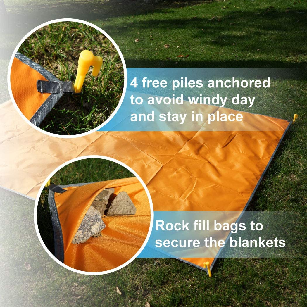 Home Queen Beach Pocket Blanket Hiking -Waterproof Sand Free Mat Rug Avoid Sand Dirt Picnic Blanket Lemon, Blue, Teal, Charcoal, Navy, Orange, 78 x 57 inch Compact Beach Blanket for Camping