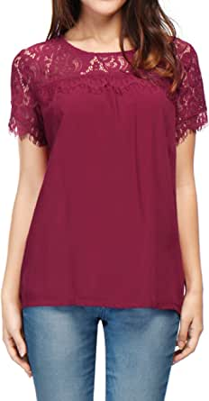 Allegra K Women's Loose Round Neck Semi Sheer Lace Panel Blouse