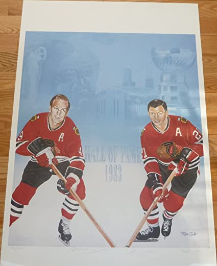 0b3f92415dc Image Unavailable. Image not available for. Color  Bobby Hull and Stan  Mikita Autographed Signed Limited Edition 40x26 Chicago Blackhawks ...