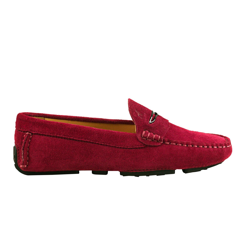 Shenduo Damen Mokassins Casual Leder Schuhe mit Metallschnallen Casual Mokassins Slippers Sommer D9123 Weinrot 10e191