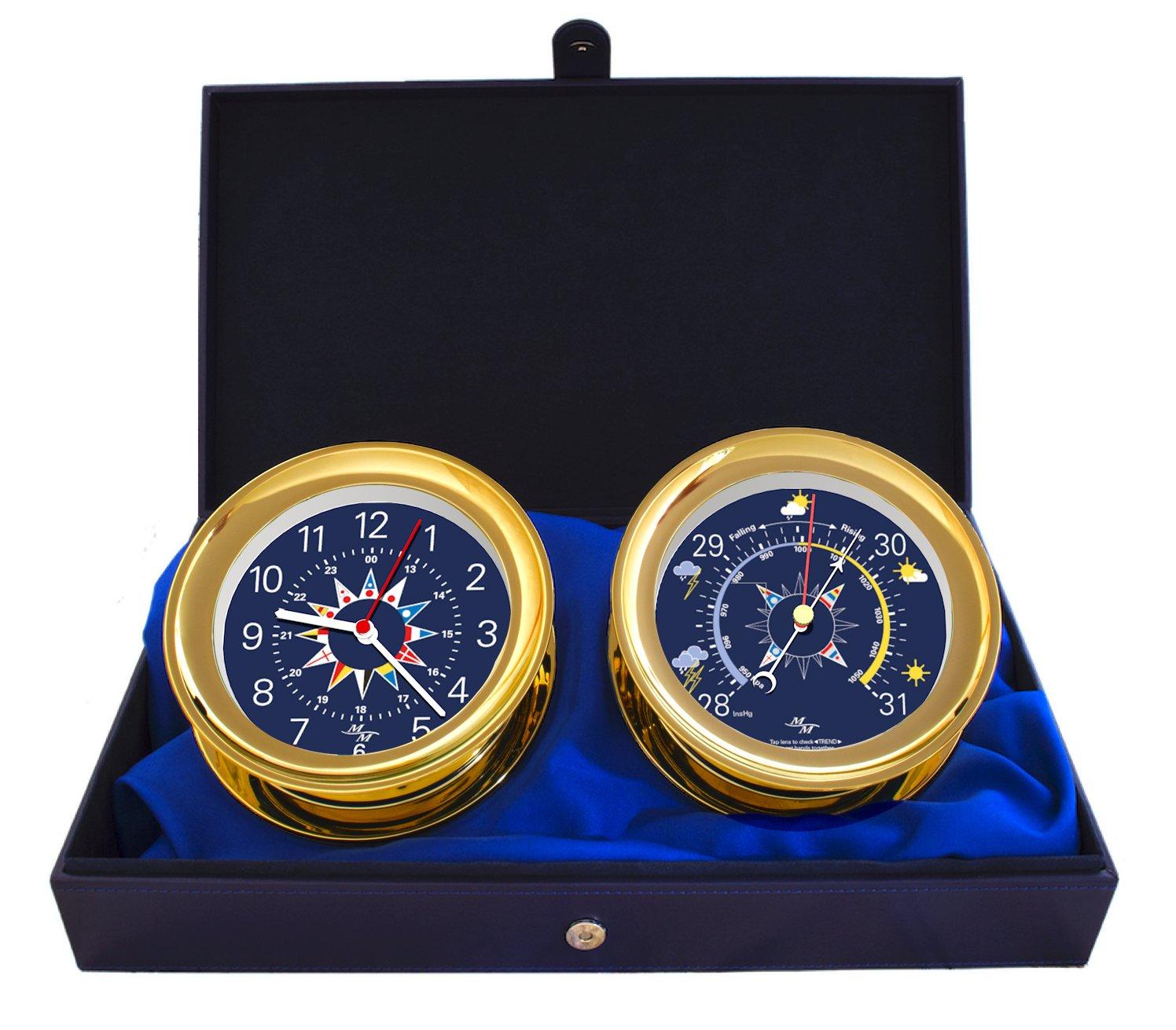 Master-Mariner Windlass Gift Set Clock & Barometer by, Gold finish, Blue flag dial