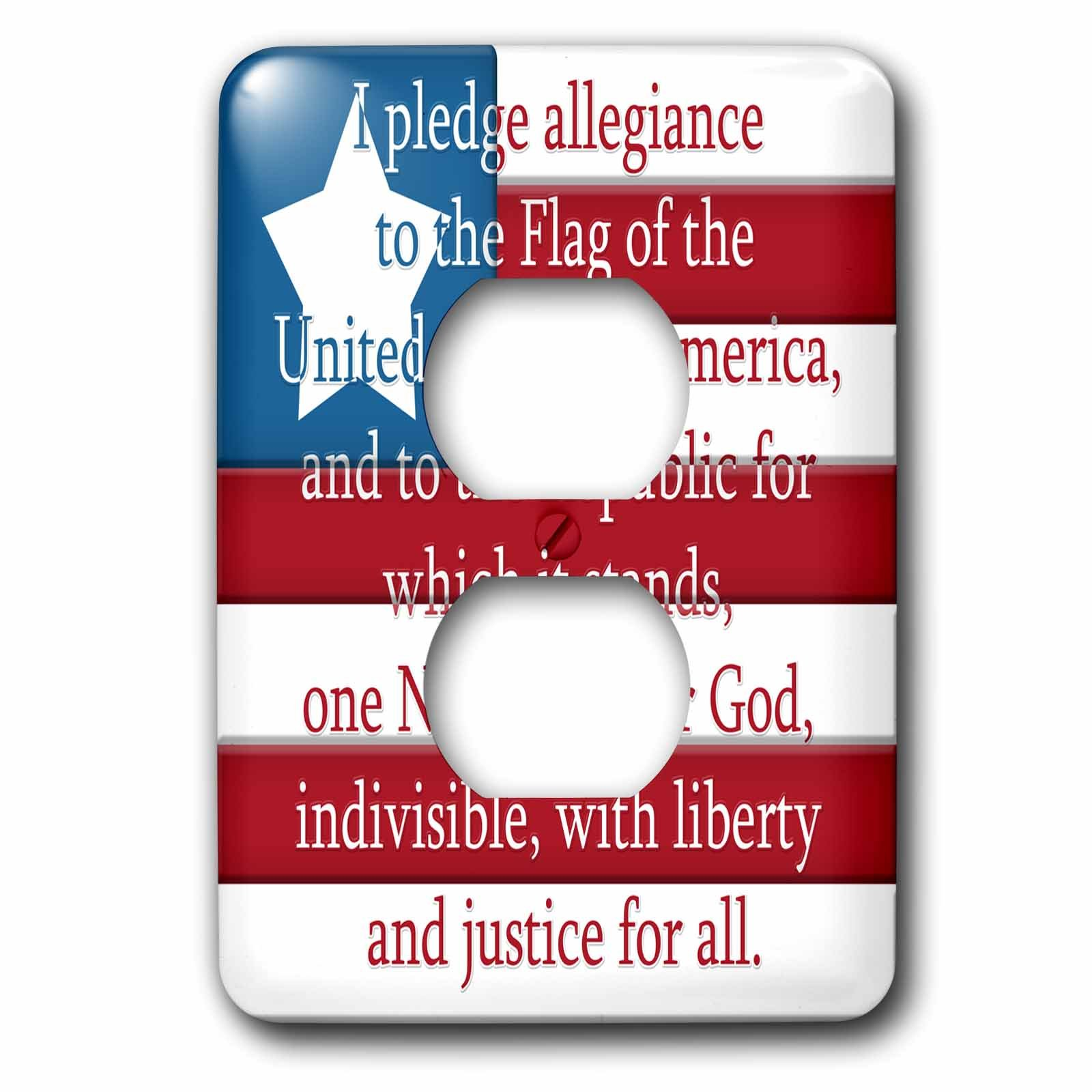 3dRose LSP_267630_6 I Pledge of Allegiance on a USA Flag Plug Outlet Cover, Mixed