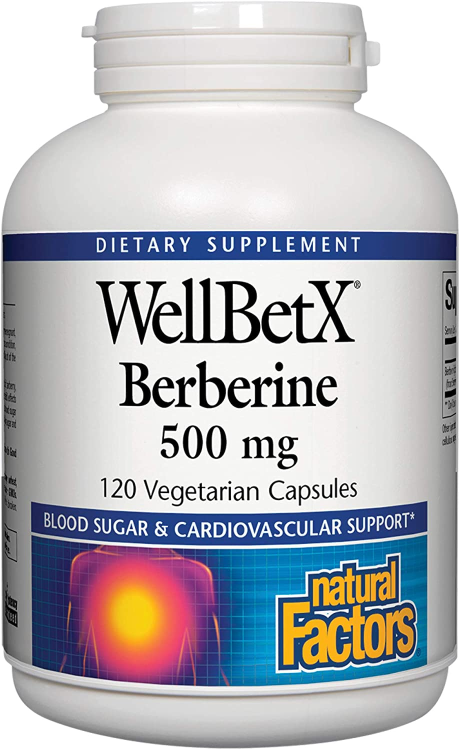WellBetX Berberine 500 mg by Natural Factors for Healthy Blood Sugar and Cholesterol Levels Already Within The Normal Range, 120 Vegetarian Capsules 120 Servings