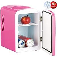 Rosenstein & Söhne Thermobehälter: Mini-Kühlschrank AC/DC, 12/230V 4l, mit Warmhalte-Funktion, pink (Dosen-Kühlschrank)