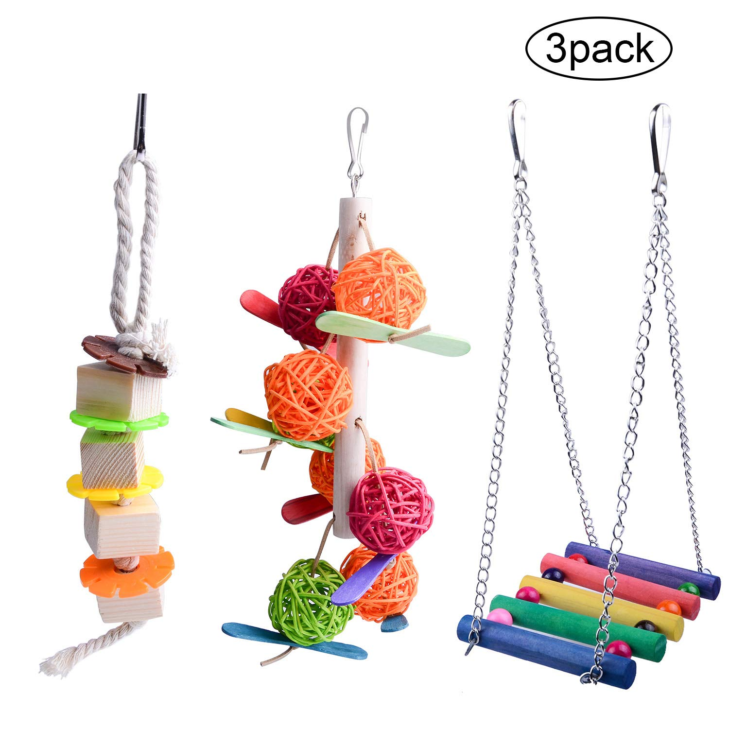 3 Packs Bird Parrot Toys Hanging Bell Pet Bird Cage Hammock Swing Toy Hanging Toy for Small Parakeets Cockatiels, Conures, Macaws, Parrots, Love Birds, Finches by MDN