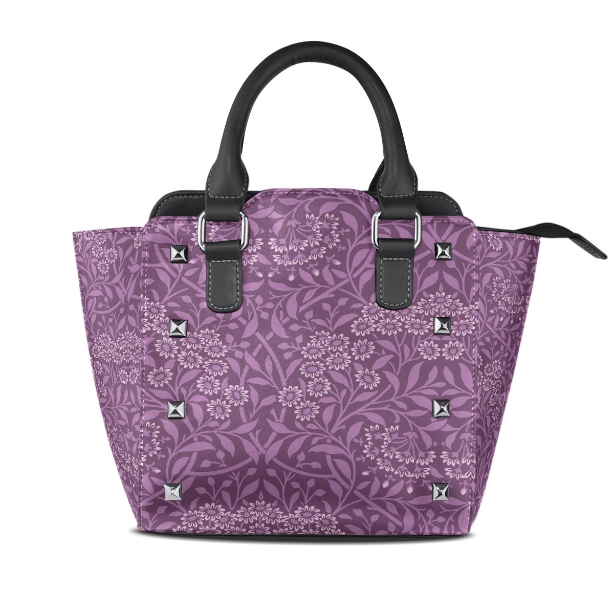 Womens Genuine Leather Hangbags Tote Bags Purple Flowers Purse Shoulder Bags