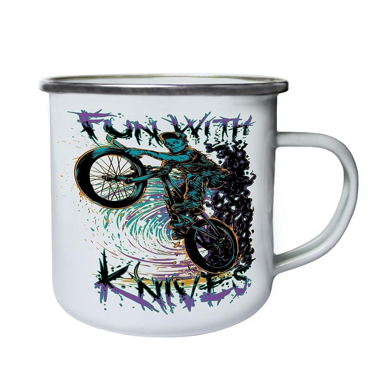 Zombie Rider con cuchillos cráneo Retro, lata, taza del ...