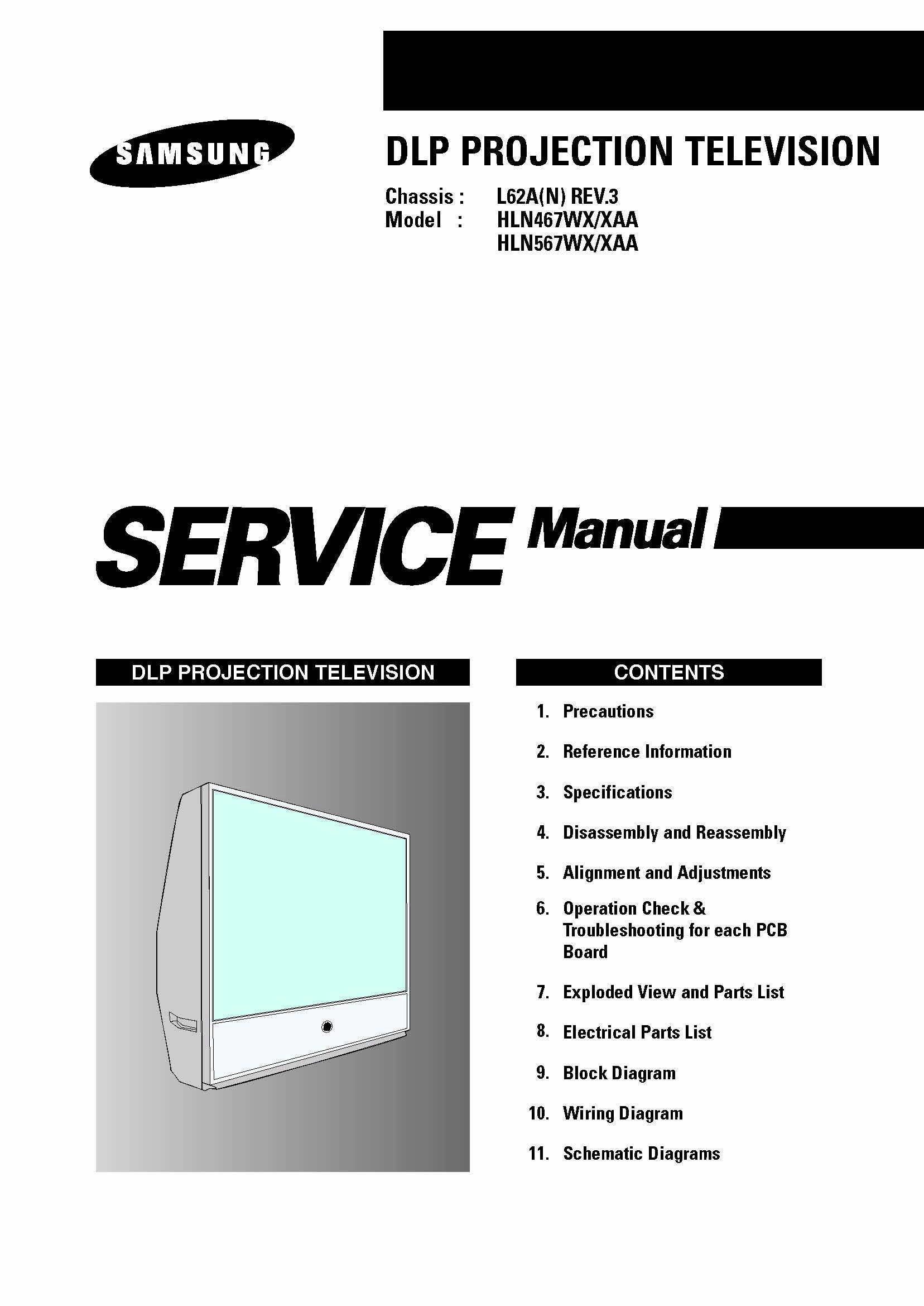 samsung hln467wx hln567wx tv service manual download