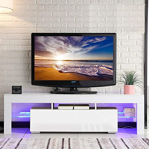 Sanery - Mueble de TV con Mesa Moderna de Alto Brillo y luz LED ...