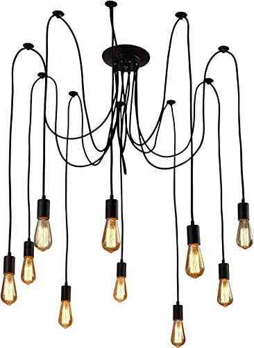 XIUDI 10 Arms Metal Pendant Lights,Industrial Ceiling Spider Lamp Fixture,Home DIY E26 Edison Bulb Chandelier Lighting,for Coffee Shop Dining Living Room Kitchen Balcony Each