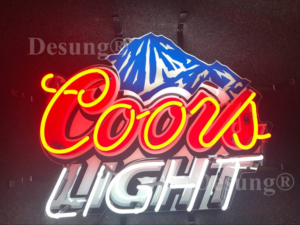 Desung 24''x20'' Coors Light Mountain Neon Sign Light HD Vivid Printing Technology Man Cave Beer Bar Pub Handmade Real Glass Tube Lamp NT02