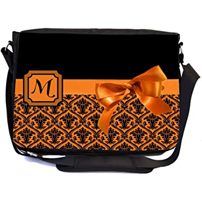 "Rikki Knight Letter ""M"" Orange Monogram Damask Bow Design Multifunctional Messenger Bag - School Bag - Laptop Bag - with padded insert for School or Work - Includes Matching Compact Mirror"