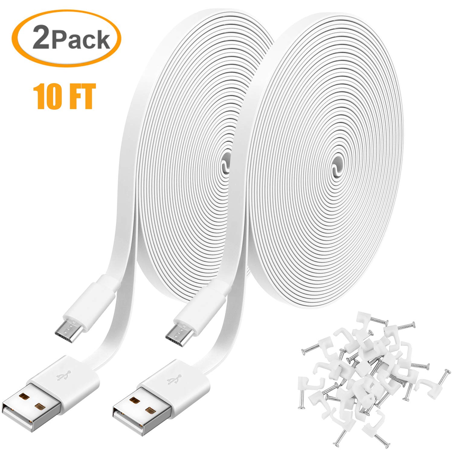 2 Pack 10FT Power Extension Cable for WyzeCam, WyzeCam Pan, KasaCam Indoor, NestCam Indoor, Yi Camera, Blink, Amazon Cloud Cam, USB to Micro USB Durable Charging and Data Sync Cord for Security Camera 71ripRRhv8L