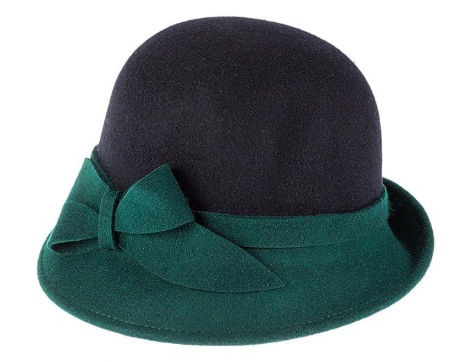 Ledatomica Cappello Donna Feltro Cloche Asimmetrica Bicolor-Blue-57   Amazon.it  Abbigliamento 903b32471f85