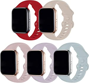 Bifeiyo 5 Pack Compatible with Apple Watch Band 38mm 40mm SM,Soft Silicone Sport Replacement Straps Compatible for iWatch Series6/5/4/3/2/1/SE(Red/Stone/Pink Sand/Lavender/Turquoise)