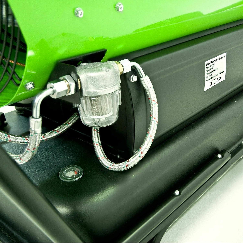 3 Schl/äuche Betrieb mit /Öl und Diesel /Ölheizer mit 50 kW inkl Y-Verteiler Heizkanone mit Kamin