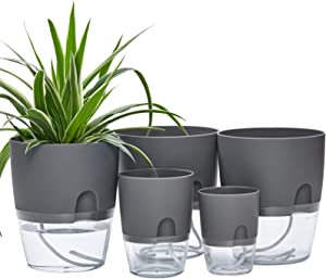 Self Watering Pots for Indoor Plants, ETGLCOZY 5 Pack 6/4.1/3.2 Inch Flower Pot Modern Decorative Plastic Planter with Extra Large Water Storage for All House Plants, Flowers, Herbs(Gray)