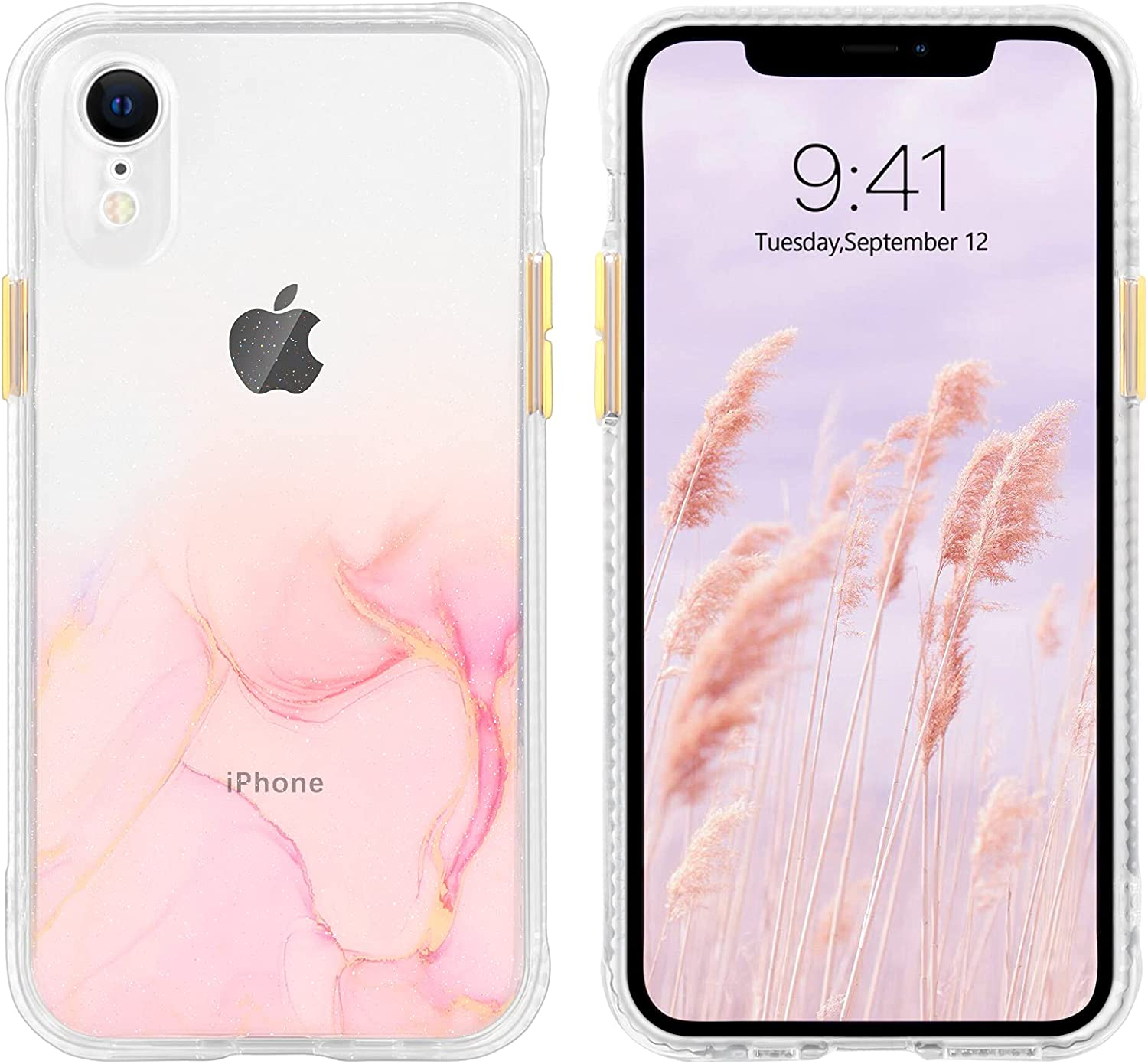 BENTOBEN iPhone XR Case, Phone Case iPhone XR, Slim Fit Shockproof Protective Hybrid Hard PC Soft TPU Bumper Drop Protection Non Slip Girls Women Boy Men iPhone XR Cover 2018, Clear/Pink Marble Design