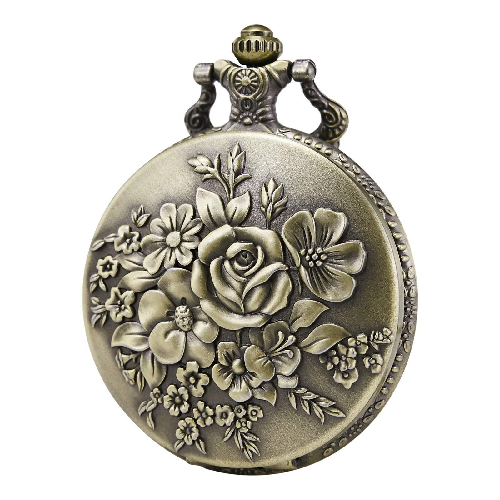 Morfong Pocket Watch Vintage Steampunk Flower Pattern Fob Quartz Watch for Men Women by MORFONG