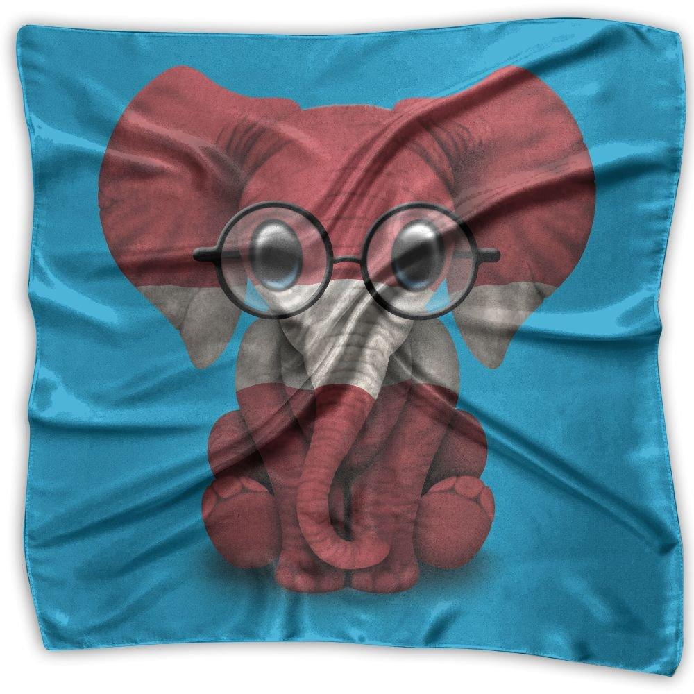 Baby Elephant Glasses Latvian Flag Women's Square Scarf Headdress Fashion Neckerchief