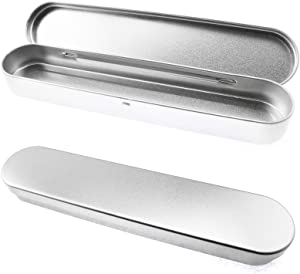Lind Kitchen 4PCS Metal Flip-top Rectangular Box Pencil Case Empty Hinged Tinplate Box Containers for Pen Pencil, Makeup Brushes, Syringe