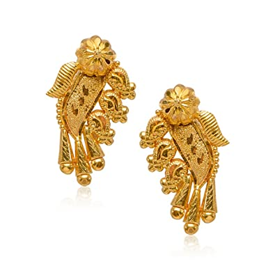 5041ab0aa Buy Senco Gold 22k (916) Yellow Gold Stud Earrings for Women Online at Low  Prices in India | Amazon Jewellery Store - Amazon.in
