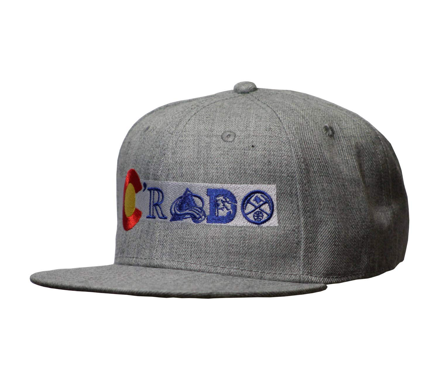 e2484c556 Colorado Flag Snap Back Flat Bill Hat. Crado Hat. Colorado Flag with Sports  Teams (Flat Bill Snapback Heather/Heather)