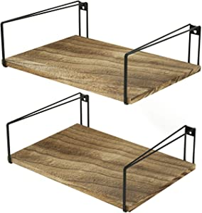 SRIWATANA Wide Floating Shelves, Rustic Wood Wall Shelves Set of 2, Wall Mounted Shelves with Large Capacity for Many Rooms Decor