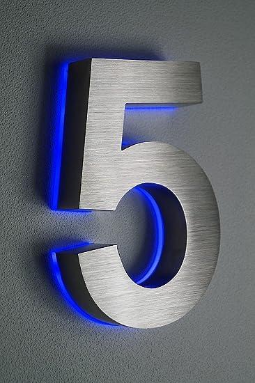 HAUSNUMMER EDELSTAHL Nr.5 / H18cm / V2A / beleuchtet / LED blau ...