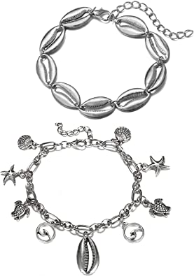 Silver and Black Starfish Anklet with Pull Tight Adjustable Sizing or Bracelet