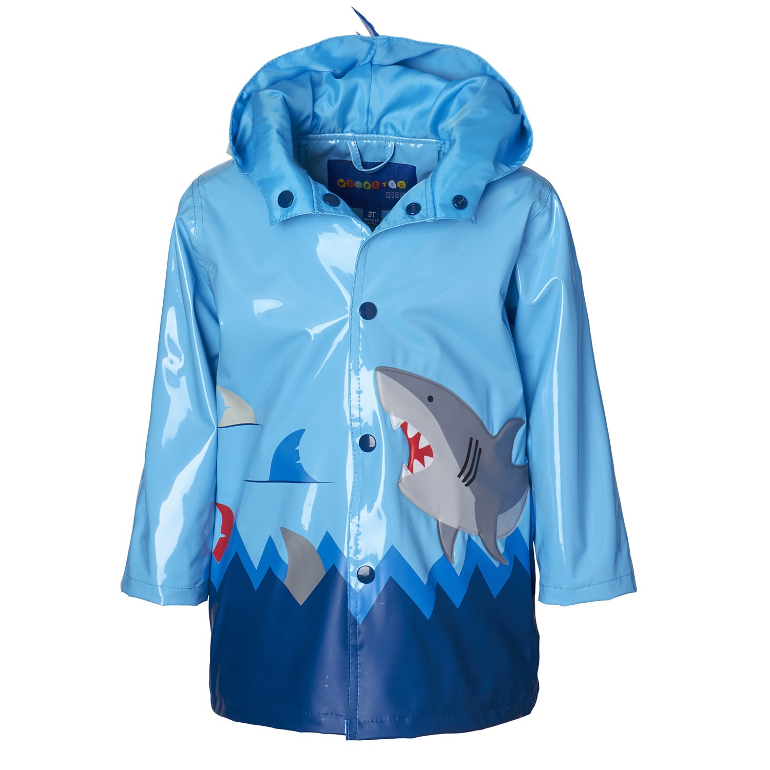Wippette Boys & Toddlers Rain Jacket With Shark Print, Shark - Shiny Blue, 6 Boys