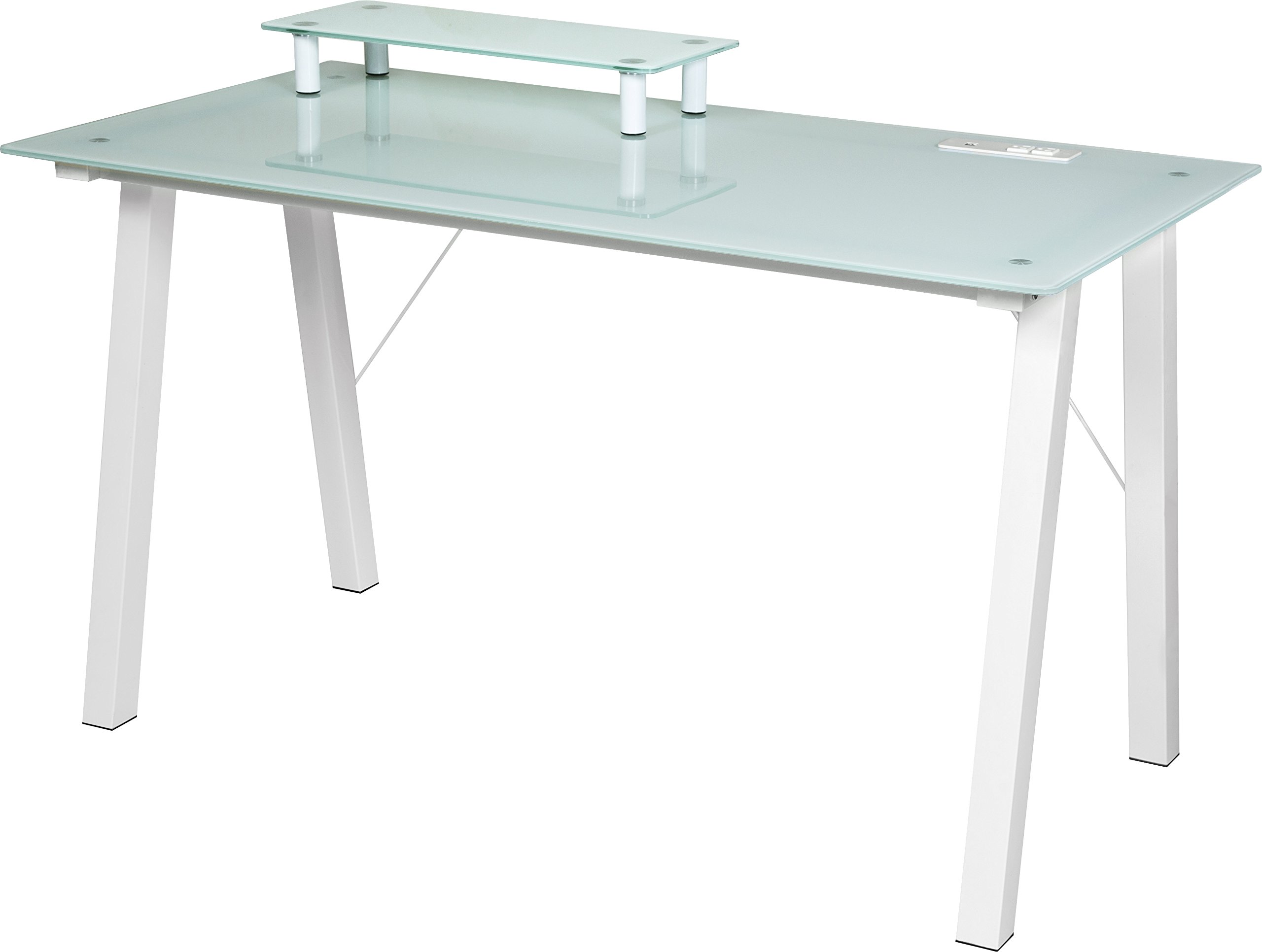 OneSpace Simply Glass Desk with USB and A/C Charging and Desktop Printer Stand, Aqua and White by OneSpace
