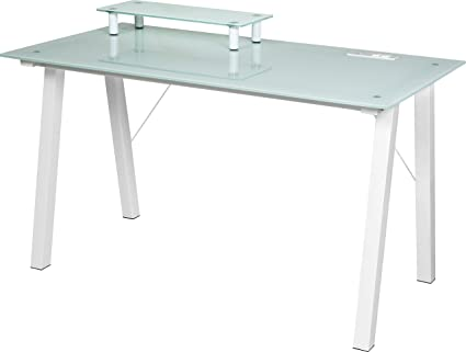 bdad4810859 OneSpace Simply Glass Desk with USB and A C Charging and Desktop Printer  Stand