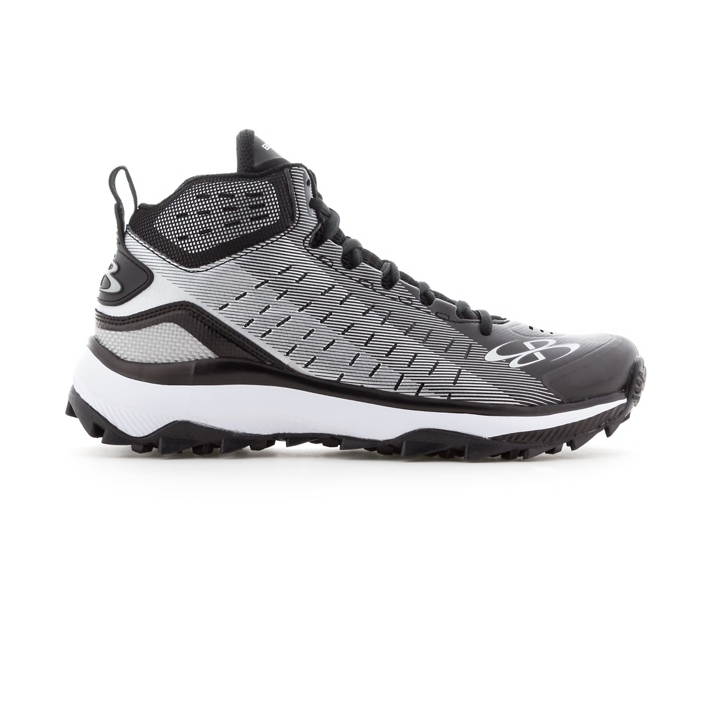 Boombah Men's Catalyst Mid Turf Shoes - 10 Color Options - Multiple Sizes B07B5R3SSP 8.5|Black/Gray
