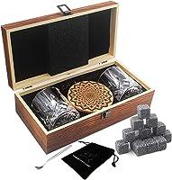 AYAOQIANG Juego de Vasos de Whisky - 16 Caja de Regalo de Piedra de Whisky - Clips de Rocas escocesas