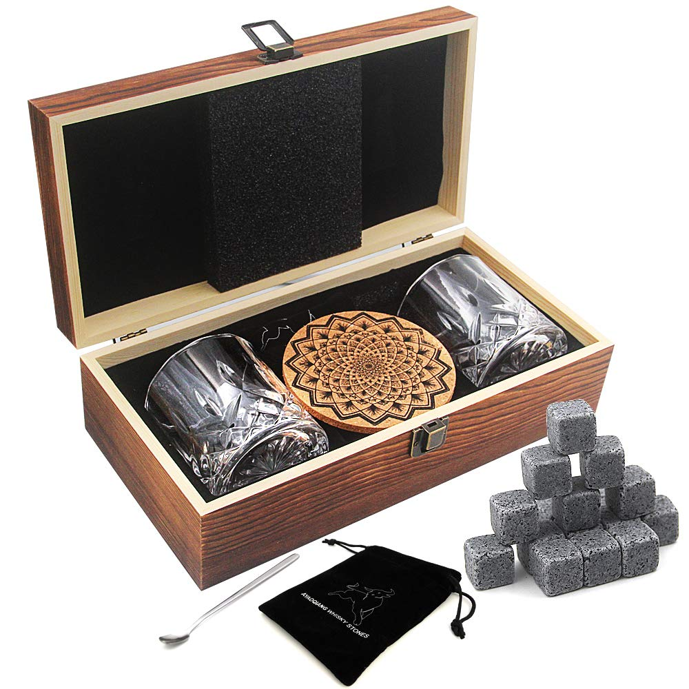 Whiskey Stones Gift Set,16 Granite Reusable Whiskey Rocks Chilling Ice Cubes,2 Whiskey Glasses,Best Gifts for Men by AYAOQIANG
