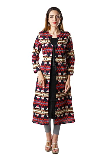 Bright Cotton Kurta For Women Long Jacket Pattern A Line Bcown 006