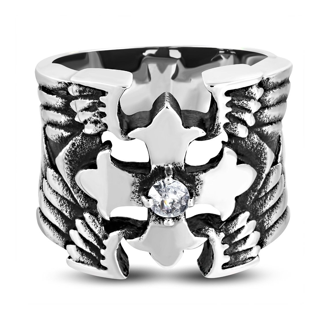 Stainless Steel 2 Color Fleury Cross Wing Biker Ring with Clear CZ