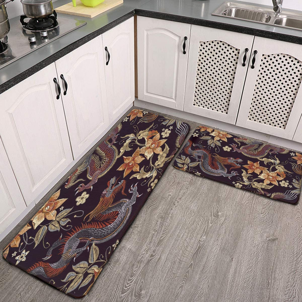 Kitchen Rugs and Mats Set 2 Piece Chinese Japanese Dragon with Beautiful Vintage Flowers Kitchen Floor Runner Mats Cushioned Anti Fatigue Door Mat Pad for Indoor Home Office Standing Desk Rug