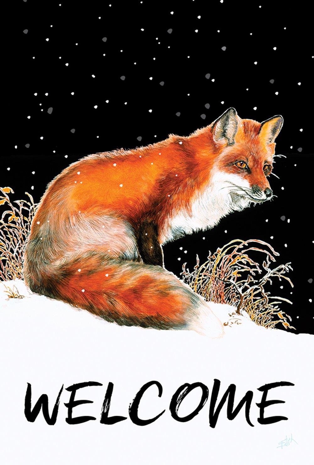 Toland Home Garden Winter Welcome Fox 28 x 40 Inch Decorative Snow Animal House Flag