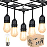 ETL Listed Outdoor Linkable 48ft led Heavy-Duty String Light with 15+1(Spare) 2W Energy-Saving PC Shatterproof Bulbs 2300K Wa